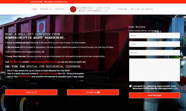 Waste Management / Dumpster Rental Company Website